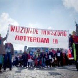 Thuiszorg staakt op Schouwburgplein Rotterdam