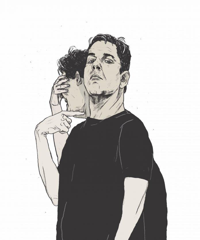 Illustratie van een narcist door Gijs Kast