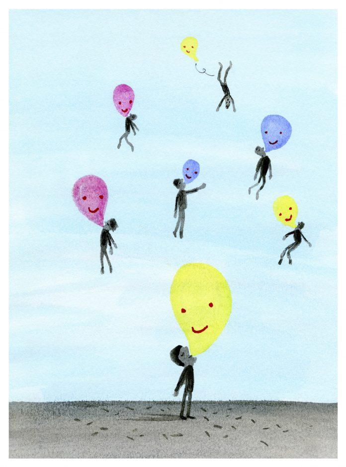 illustratie van lachgasbalonnen